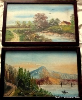 A pair of landscapes, unknown locations, gouache on paper, unsigned. c1900.