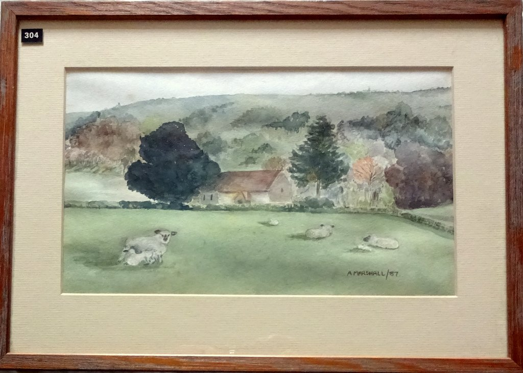 Didling village West Sussex, watercolour, signed A Marshall/87. 1987.