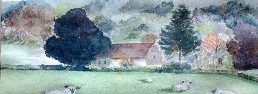 Didling village West Sussex, watercolour, signed A Marshall/87. 1987. Detail.