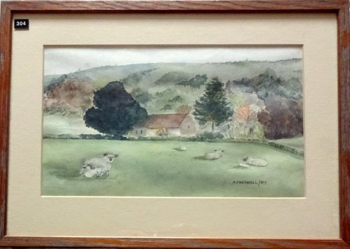Didling village West Sussex, watercolour, signed A. Marshall/87. 1987.