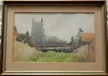 The Church, watercolour, signed Madeleine Petter, c1950. Framed.