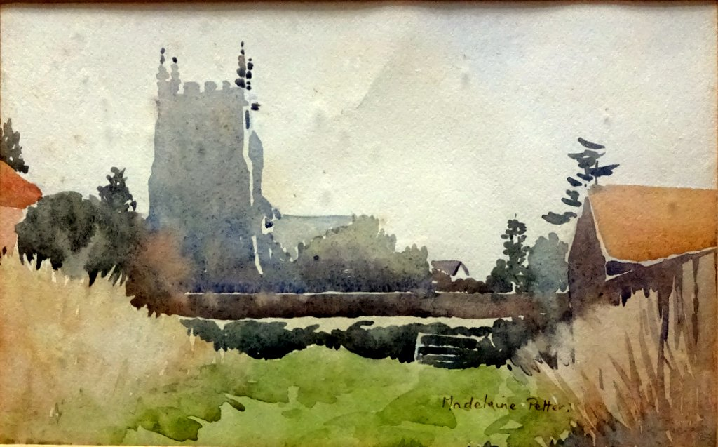 The Church, watercolour, signed Madeleine Petter, c1950.