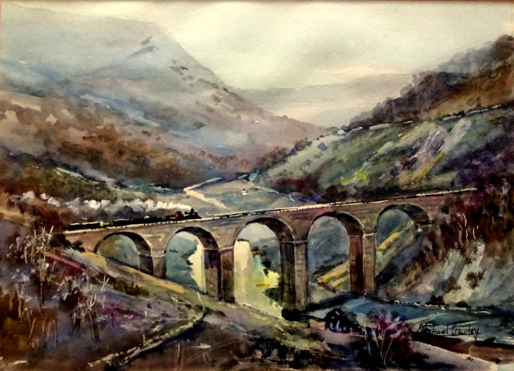 Train crossing Monsal Viaduct Peak District Derbyshire, watercolour, signed Michael Crawley c1975. Detail.