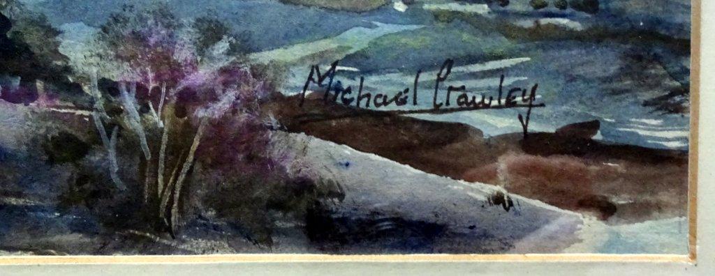 Train crossing Monsal Viaduct Peak District Derbyshire, watercolour, signed Michael Crawley c1975. Detail. Signature.