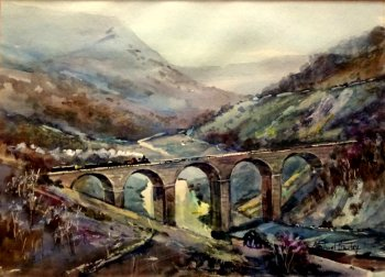 Train Crossing Monsal Viaduct in Winter, Derbyshire, watercolour, signed Michael Crawley c1975.  SOLD  28.01.2017.