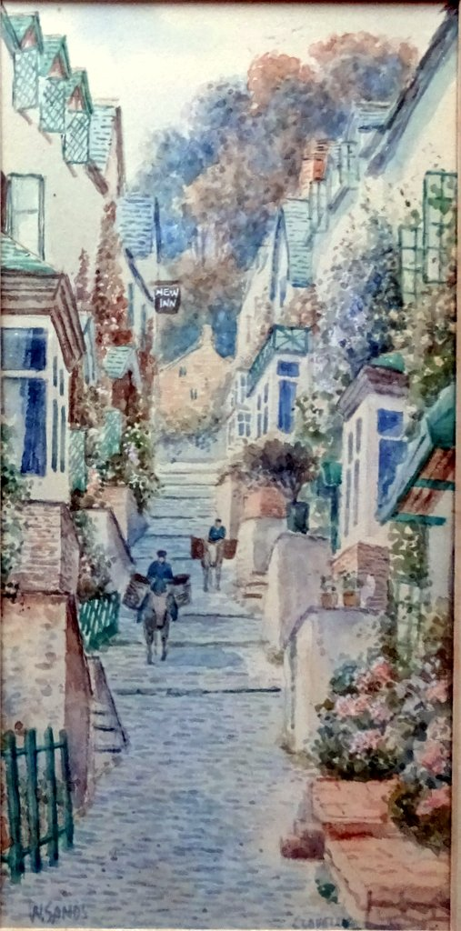 W.Sands, aka TH Victor, Up Along, Clovelly, Devon, watercolour, signed W Sands, c1929