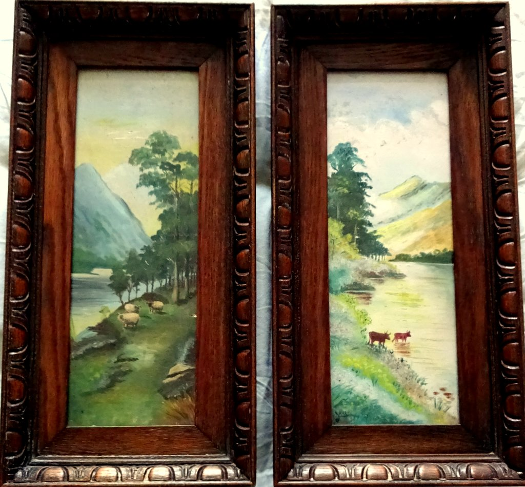 Mountain Views, A Pair, oil on Birchmore boards, signed A. Allen, c1915.