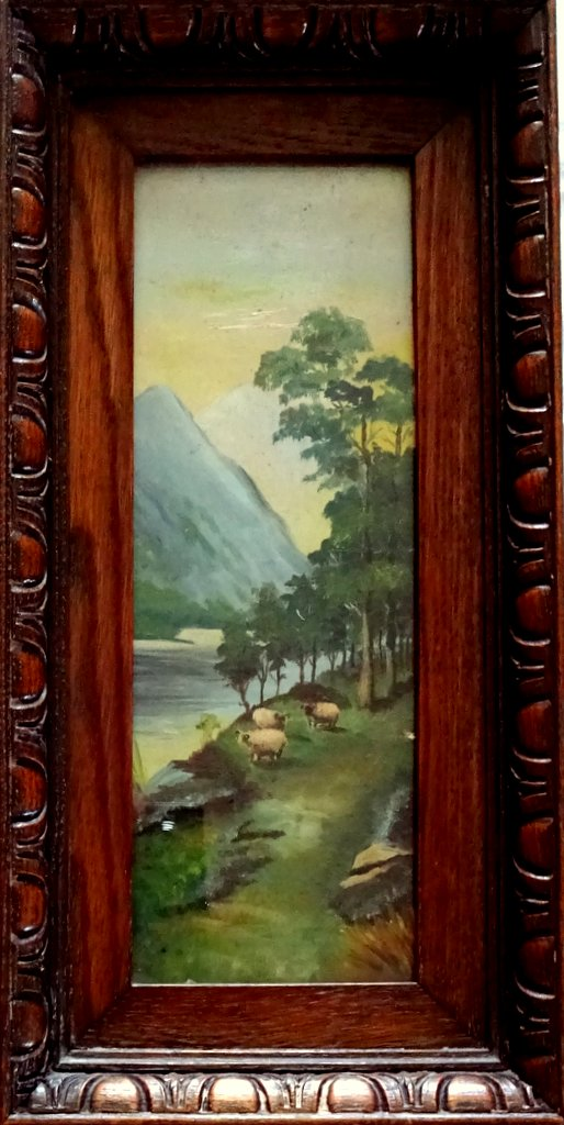 Mountain Views, A Pair, oil on Birchmore boards, signed A. Allen, c1915. Sheep.