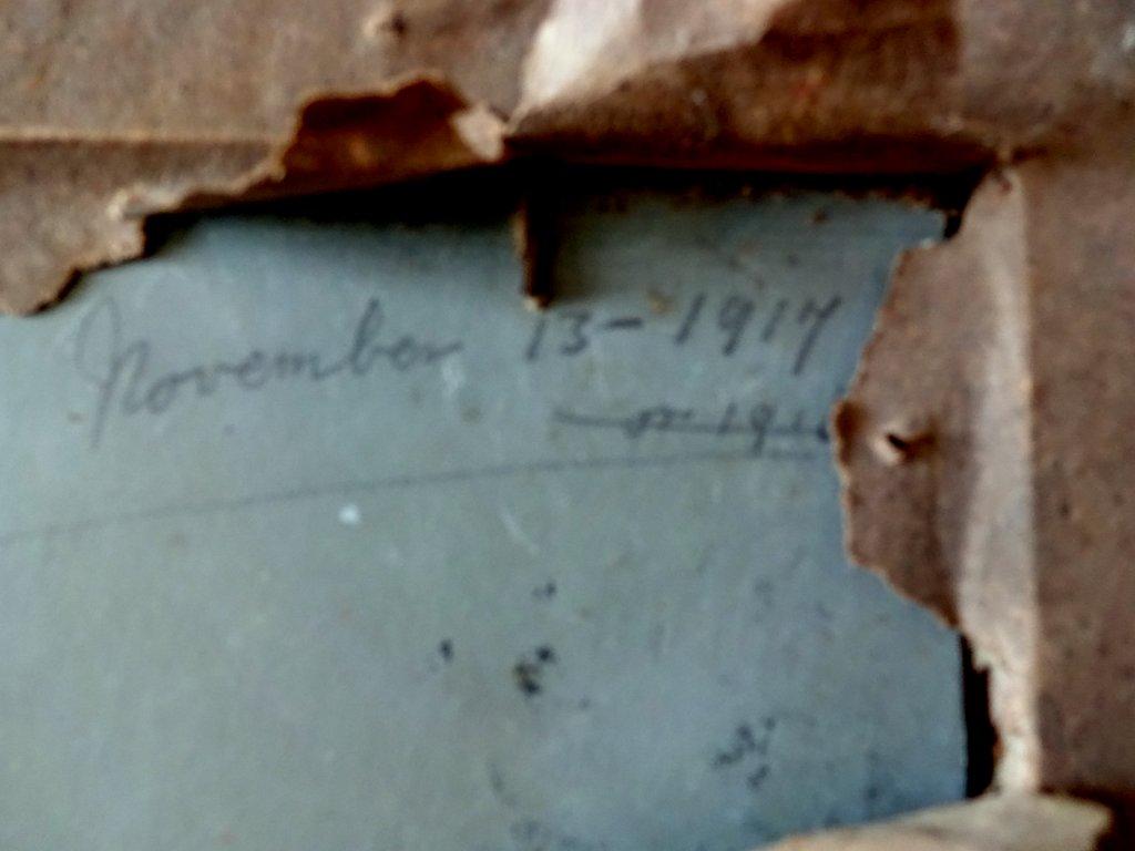 Mountain Views, A Pair, oil on Birchmore boards, signed A. Allen, c1915. Sheep. Frame, verso. Script verso.
