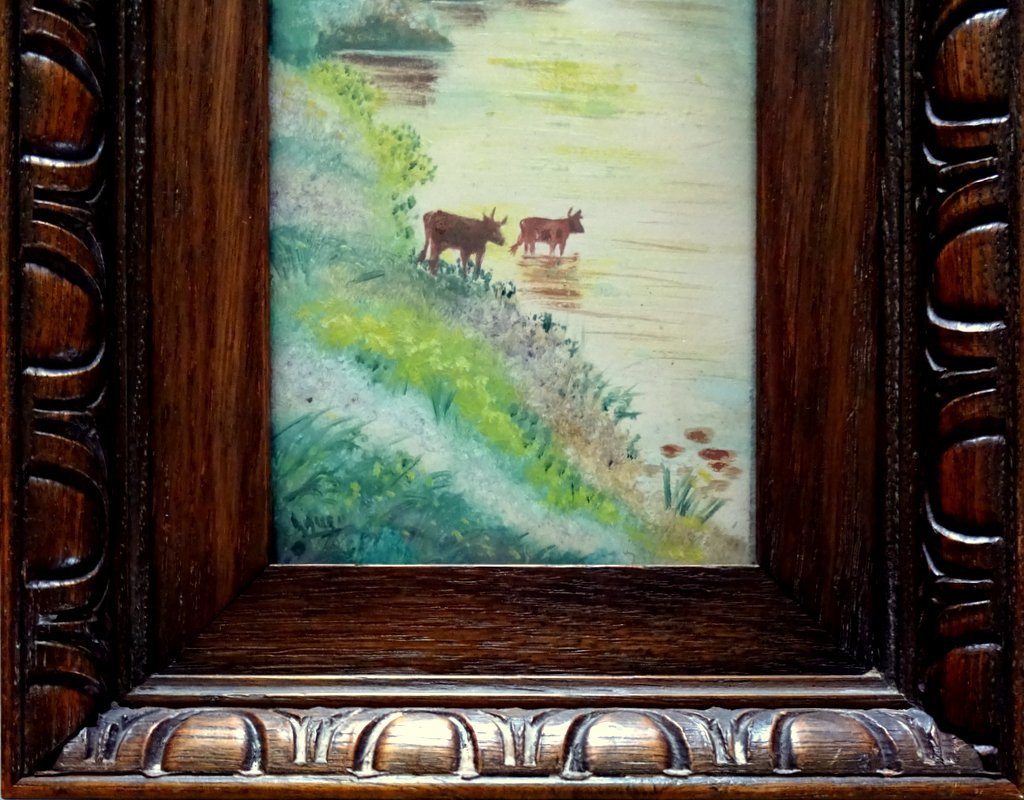 Mountain Views, A Pair, oil on Birchmore boards, signed A. Allen, c1915. Cattle.