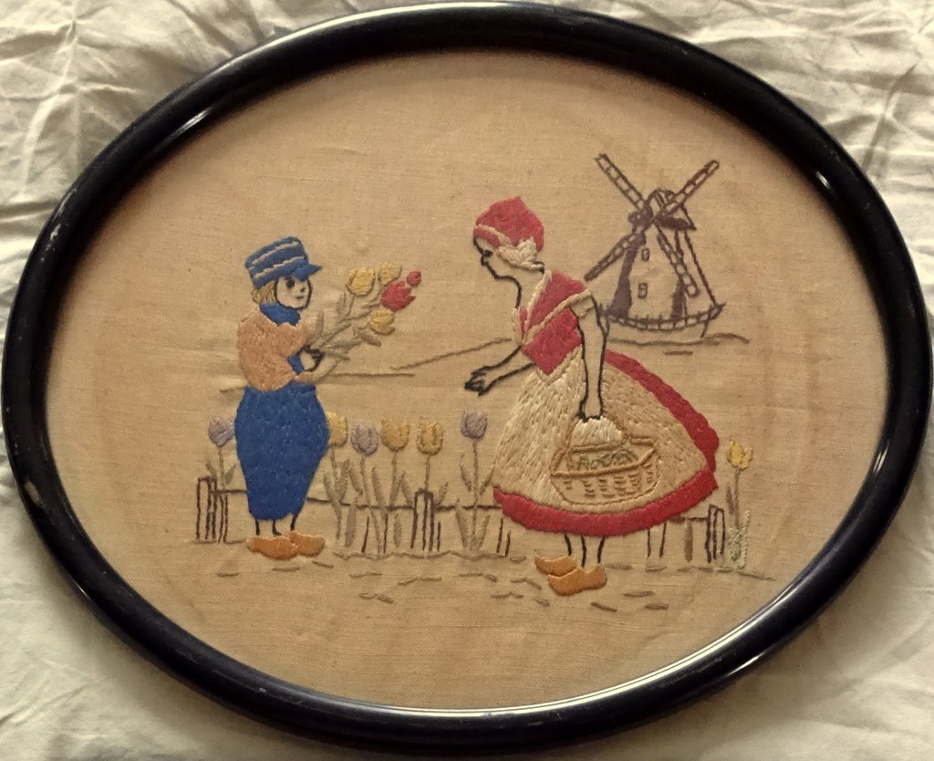 A Pair, English Vintage samplers on linen, framed. c1930.