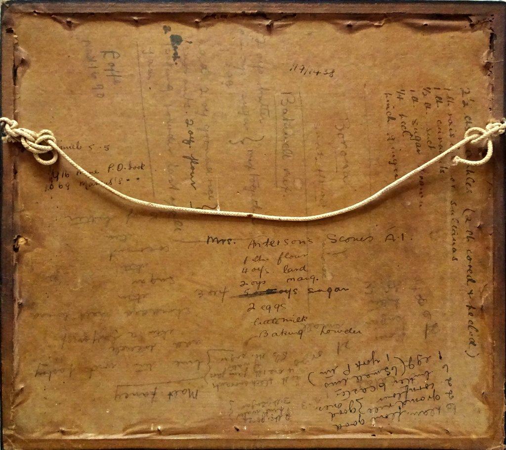 A Pair, English Vintage samplers on linen, framed. c1930. Frame, verso.