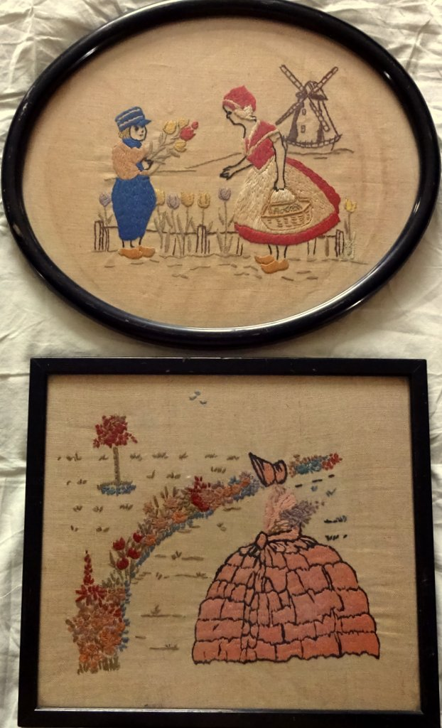 A Pair of Vintage English Samplers on linen, cross-stitch, framed. c1930.