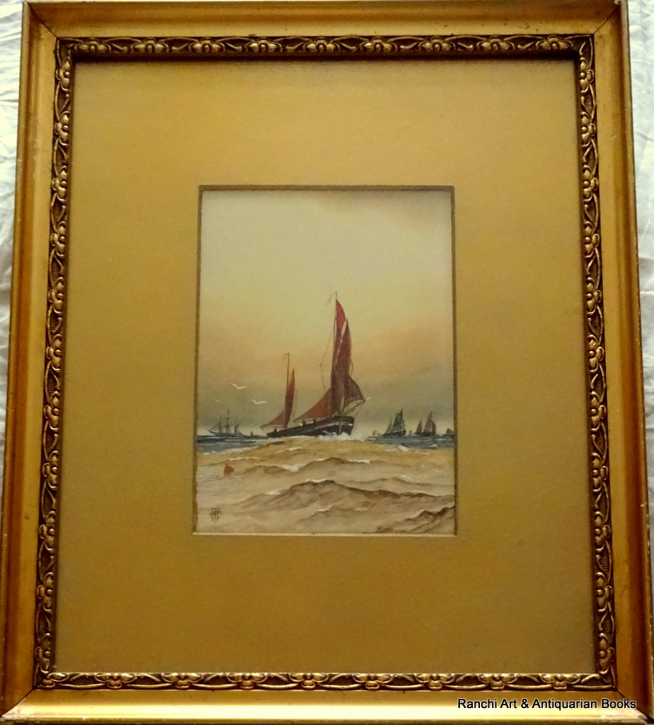 Thames Barges off the Estuary, watercolour and gouache, signed monogram WCT c1900.