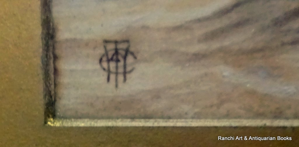 Thames Barges off the Estuary, watercolour and gouache, signed monogram WCT c1900. Detail. Monogram.