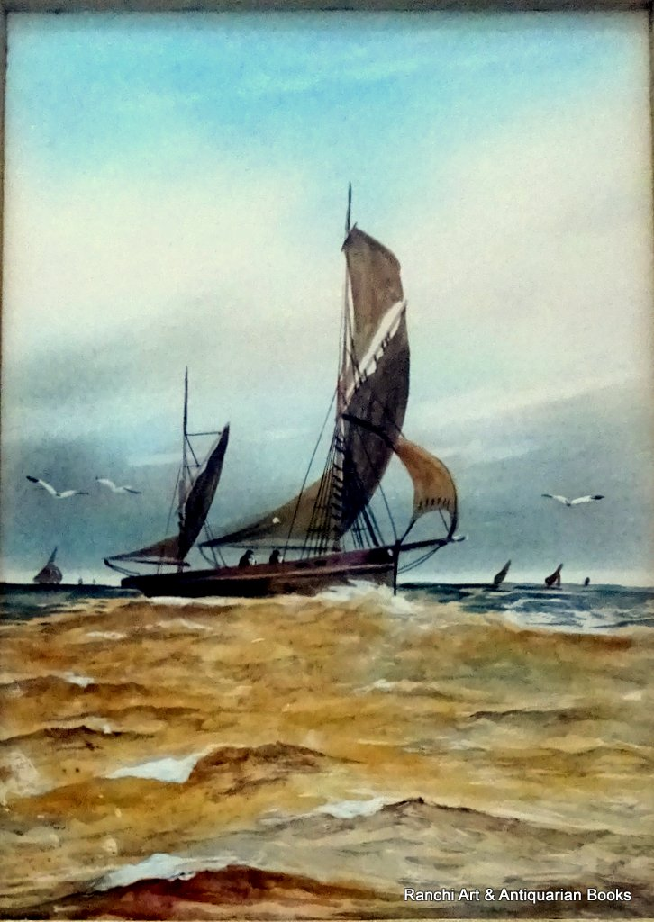 Thames Barges off the Estuary, watercolour and gouache, signed monogram WCT c1900. Detail.