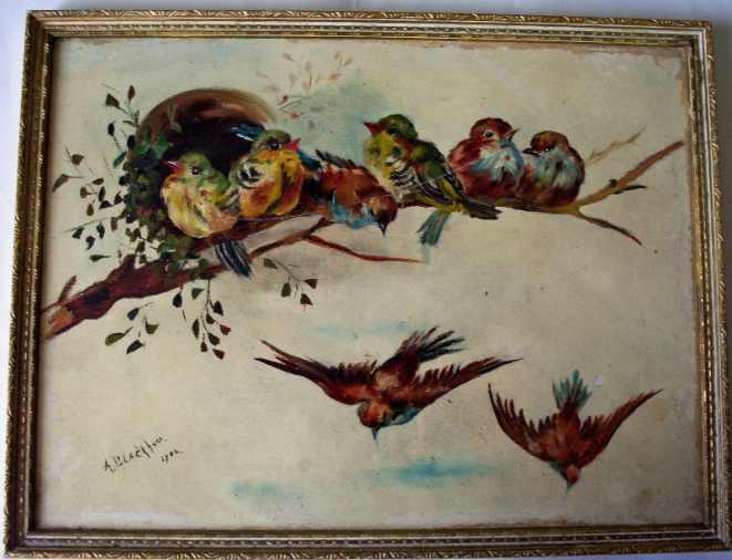 Blackham, Arthur. Birds of a Feather, oil on board. 1902.