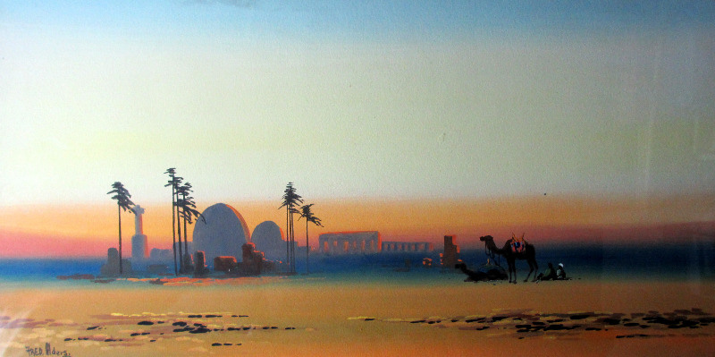 Alders, Fred., Orientalist Arabian Scene at Dusk, gouache, signed. c1930.