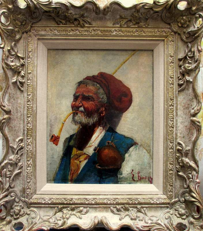 19thC Italian School, signed but unknown. Sardinian Shepherd, oil, indistinctly signed. c1900.