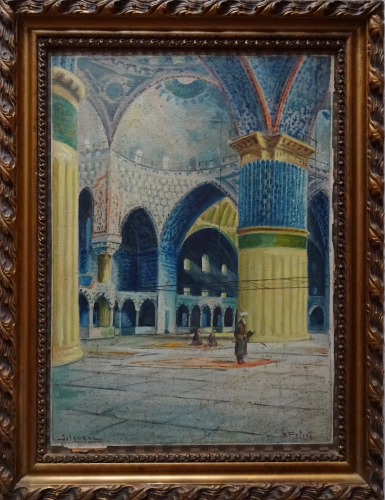 Petroff, Wladimir, Sultan Ahmet Camii, oil on canvas laid to board, signed W. Petroff. c1928.