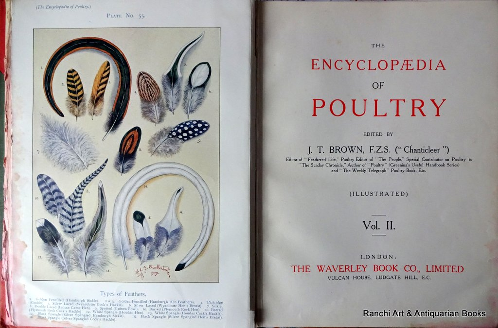 Encyclopaedia of Poultry, edited JT Brown, FZS, Vol II, 1909. Title page and frontispiece.