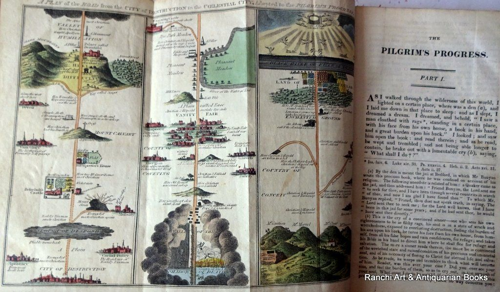 The Pilgrim's Progress, John Bunyan, Kelly's Edition, 1816. Detail. Fold out Plan.