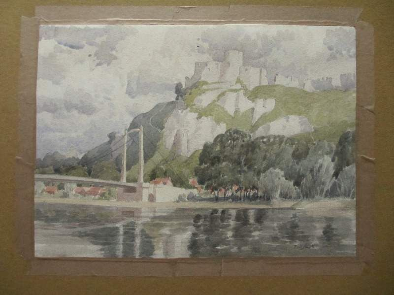 Smyth Paul, Chateau Gaillard, Upper Normany, Suspensiion Bridge, France, watercolour, signed, c1929.