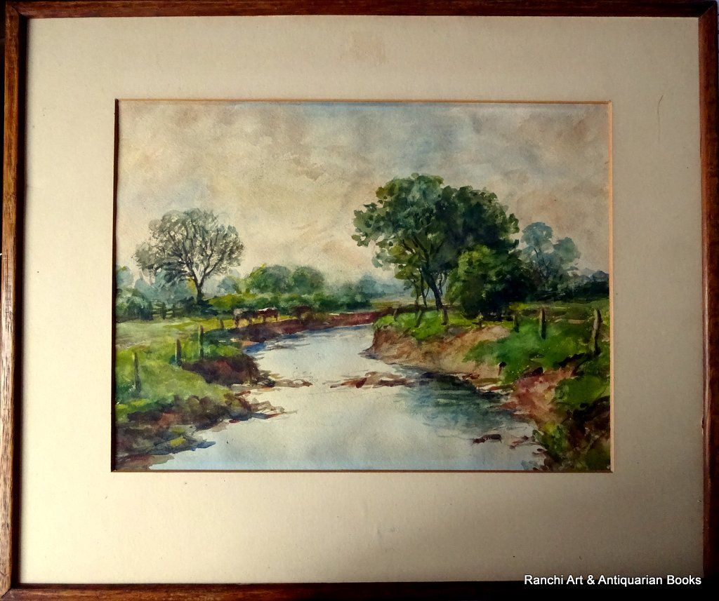 The Brook near S Wigston, watercolour, HW Bates April 1945.