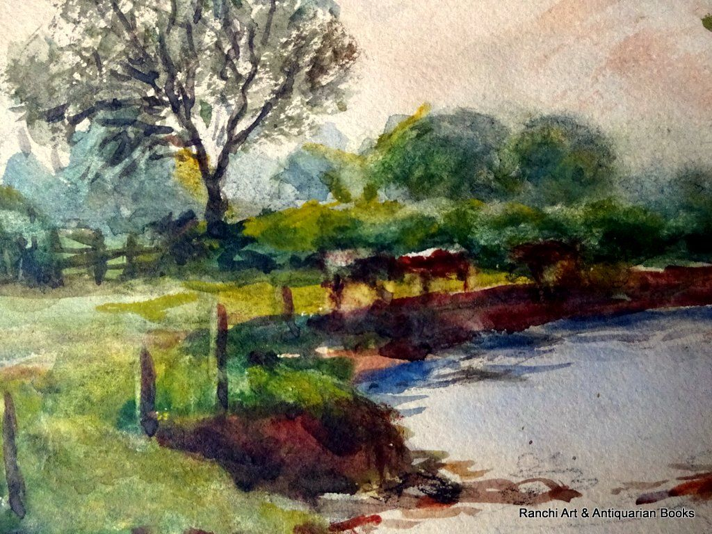 The Brook near S Wigston, watercolour, HW Bates April 1945. Detail.