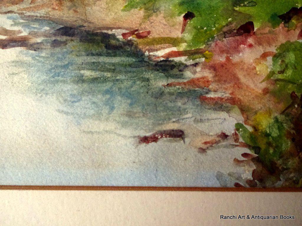 The Brook near S Wigston, watercolour, HW Bates April 1945. Detail.
