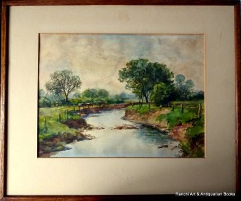 The Brook Near South Wigston Leicestershire, watercolour, HW Bates April 1945.