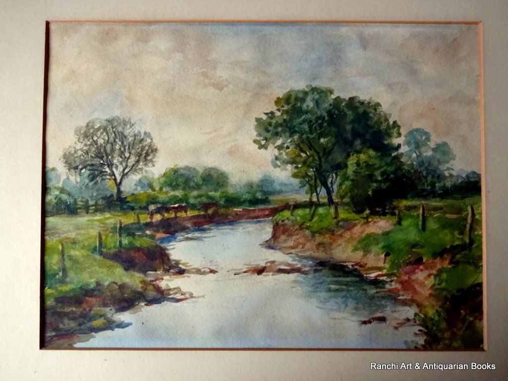 Bates, H.W., Brook near South Wigston Leicestershire, watercolour, unsigned, inscribed and dated verso. April 1945.