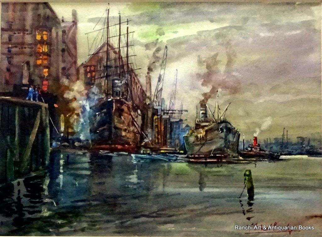 Michael Crawley, River Thames, Wapping Docks, watercolour, signed MIchael Crawley, c1968.