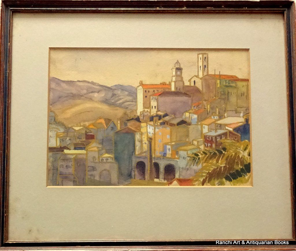 Tuscan Hill Town, graphite and gouache, no visible signature, c1900.