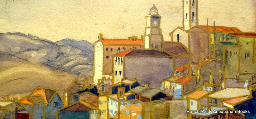 Tuscan Hill Town, graphite and gouache, no visible signature, c1900. Detail.