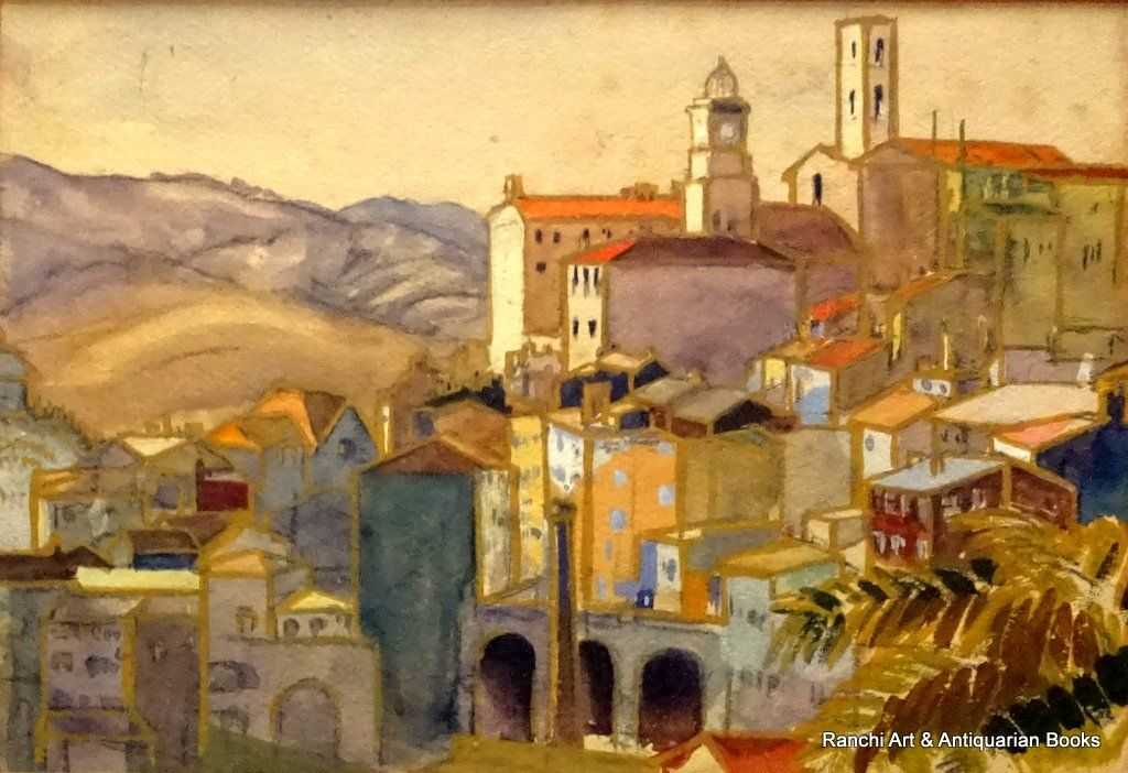 19thC Italian School, Tuscan Hill Town, gouache and graphite, no visible signature, c1900.