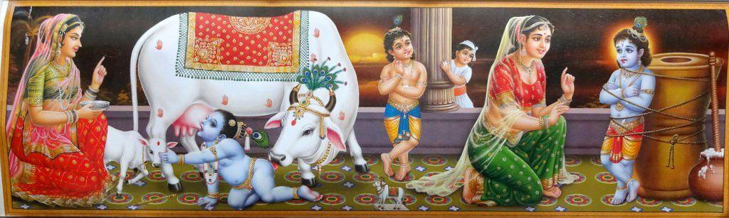 Krishna as a Baby with Cows, Krishna & Yashoda, print, c1960.