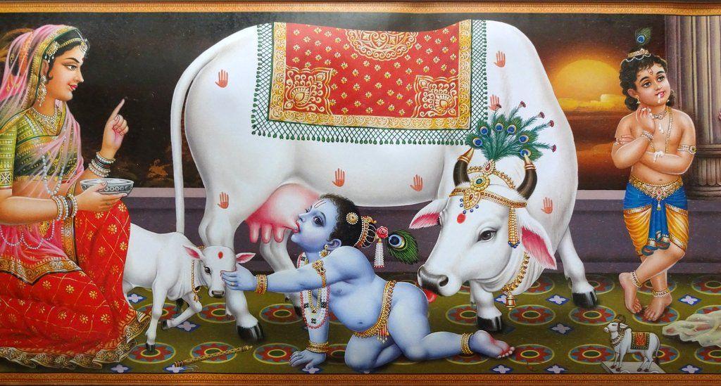 Krishna as a Baby with Cows, Krishna & Yashoda, print, c1960. Detail.