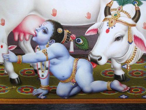 Krishna as a Baby with the Cows, Krishna & Yashoda, Indian print, c1960.