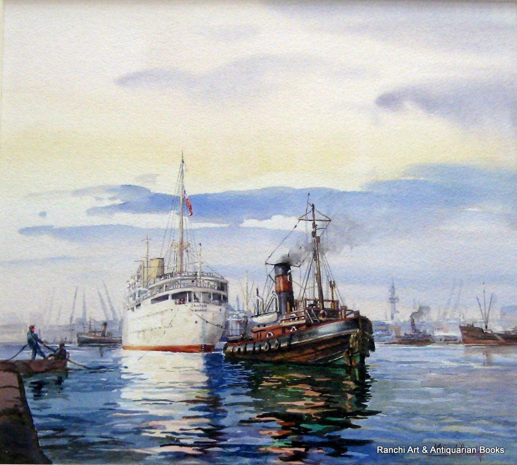 RMS Canton berthing by Tug Napia Port of London 1950