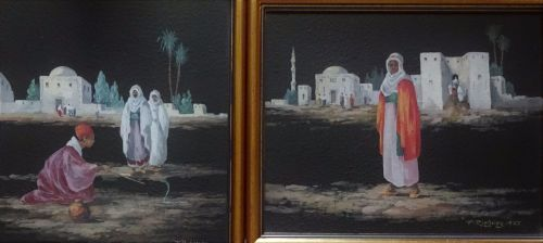 Arabian Scenes, a pair, gouache on board, signed F Ridgway, dated 1927. Fra