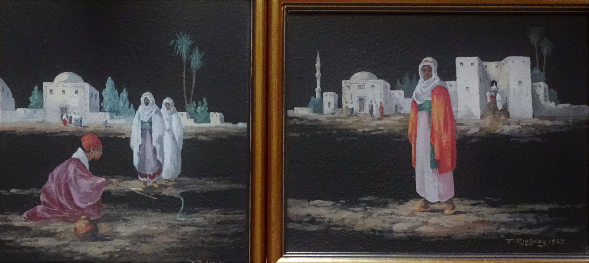 A pair, gouache on board, Arabian scenes, signed F. Ridgway 1927. Framed.