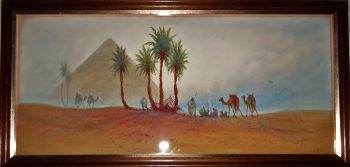 Bedouin camp near pyramids, figures and camels, watercolour, signed DH Pinder, c1919.  SOLD  07.03.2017