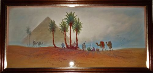 Bedouin camp near pyramids, figures and camels, watercolour, signed DH Pind