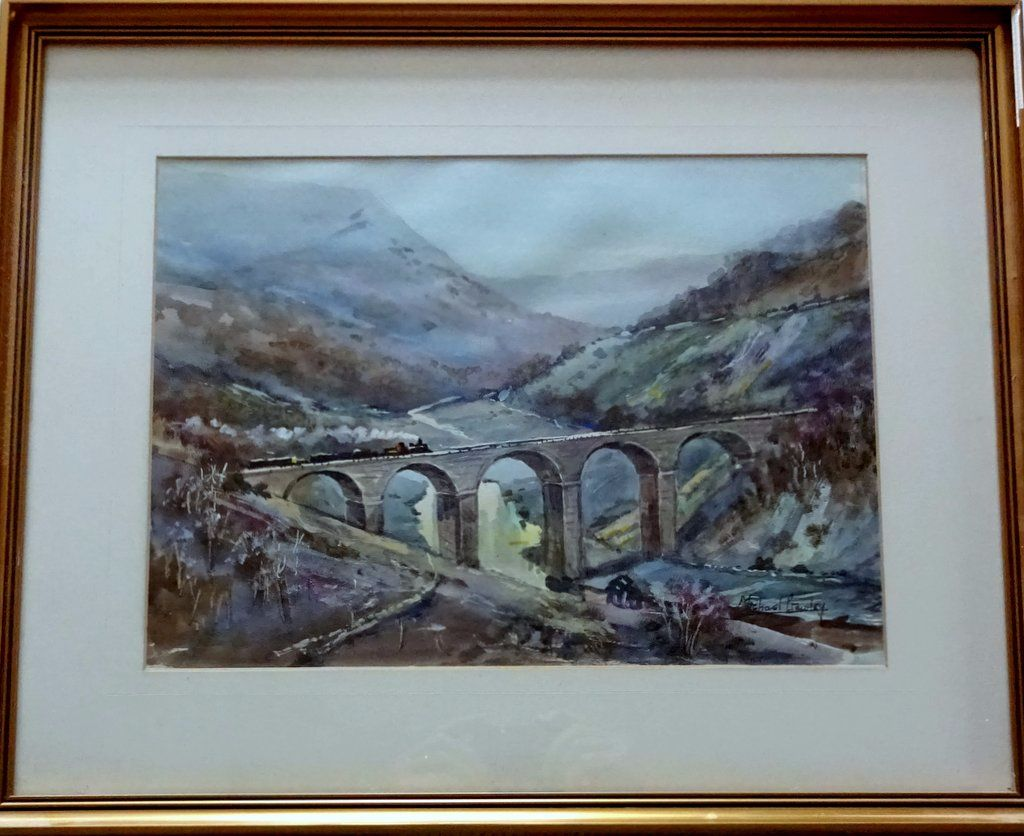 Michael Crawley, Train crossing Monsal Viaduct, watercolour, c1975.