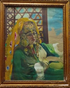 Portrait of an Uzbekistani woman, gouache on paper, unsigned. c1950. Original frame.
