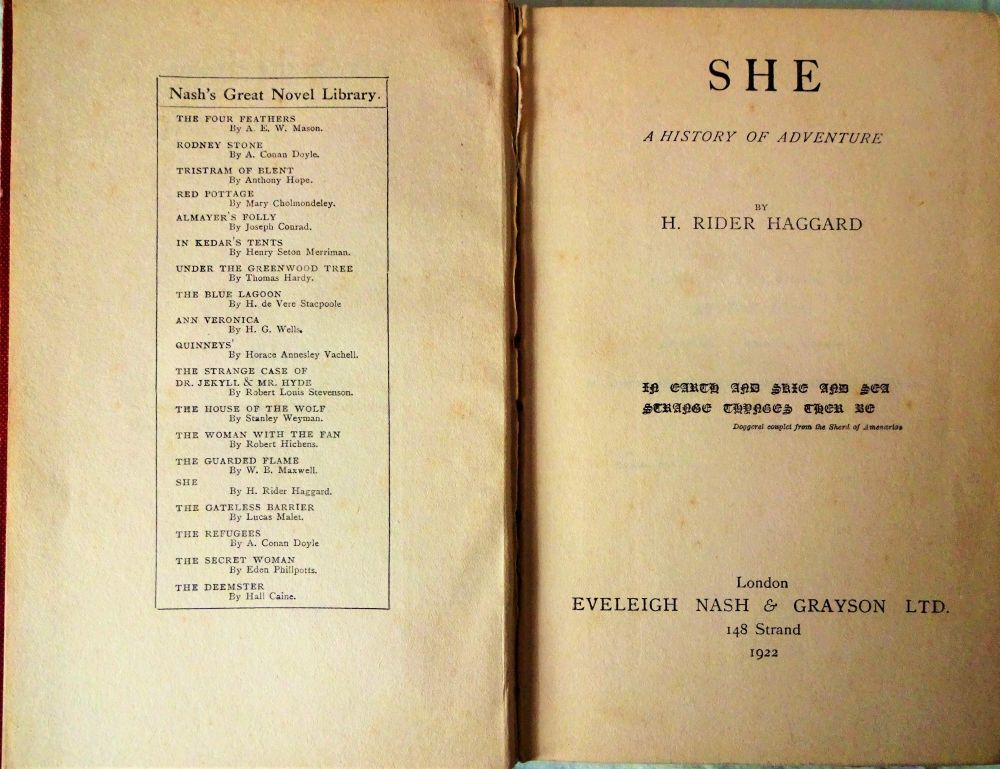 Title page/sub-title page verso, She, HR Haggard.