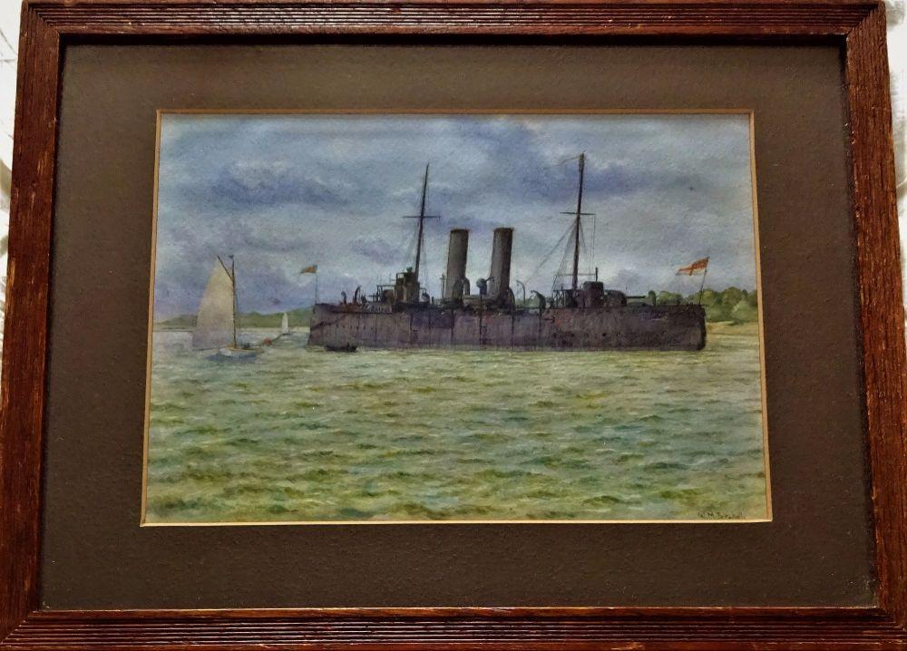 British battleship off the coast, watercolour, signed WM Birchall, c1917.
