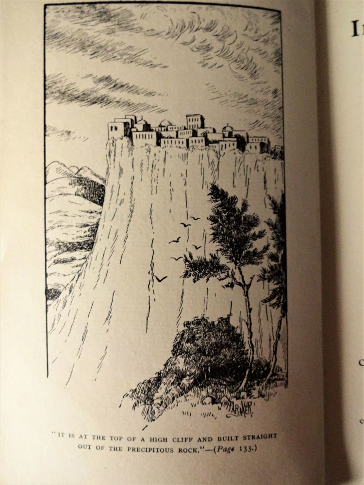 At the top of a high cliff. Illustration by FA Baker.