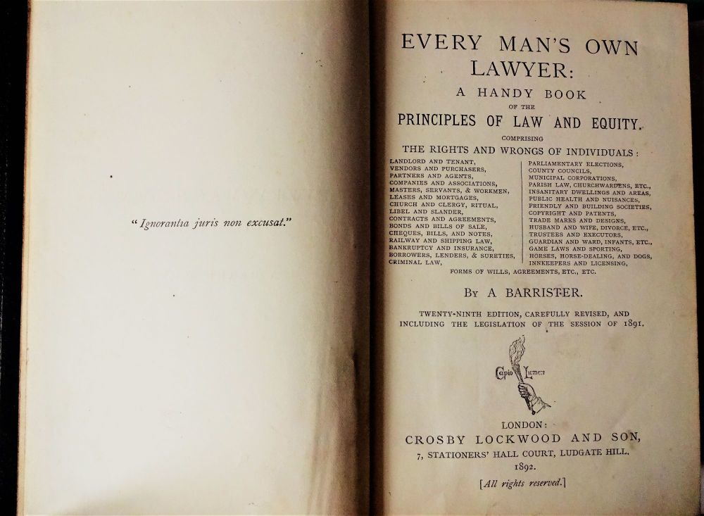Title page, Everyman's Own Lawyer.